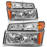 DWVO Headlight Assembly Fit for 2004-2012 Chevy Colorado/GMC Canyon Chrome Housing Replacement Headlamps with Bumper Lights - Driver and Passenger Side