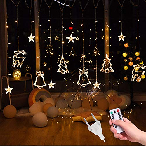 JHDNG 3.5M 220V LED Moon Star Lamp Christmas Garland String Lights Fairy Curtain Light Outdoor for Holiday Wedding Party Decoration RemoteWarmWhite2