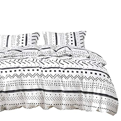 Wake In Cloud - Aztec Duvet Cover Set, 100% Cotton Bedding, Black and White Geometric Modern Pattern Printed, with Zipper Closure (3pcs, King Size)