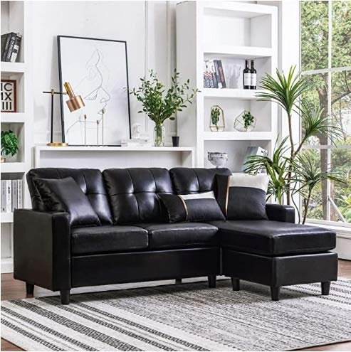 Sofa Sleeper Couch PU Leather 3 Seat Sofa Bed Slipcover Removable Sectional Chaise Sofa Cover Lounge Chaise on Right or Left Corner Slipcover for Bedroom Living Room (76.38 x 49.6 x 35.04) inch Black