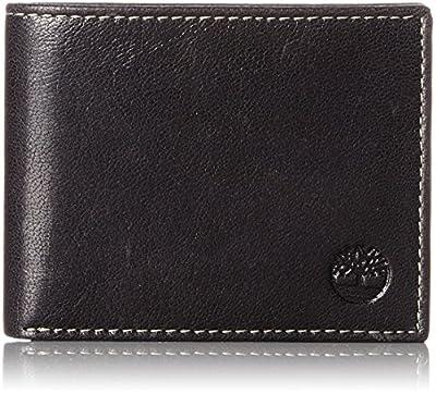 Timberland Men's Hunter Leather Passcase Wallet Trifold Wallet Hybrid, Black