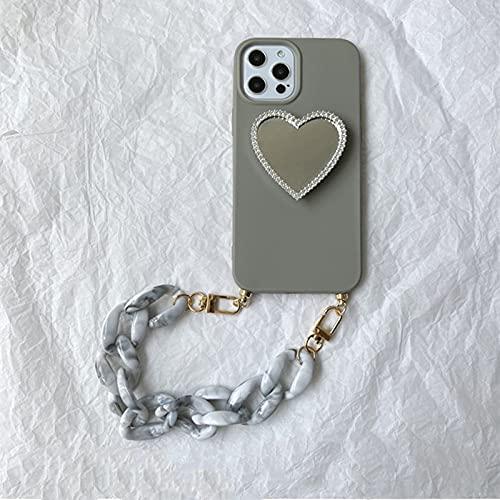 LIUYAWEI Funda de teléfono con Soporte de Espejo de Lujo para iPhone 12 11 Pro XS MAX XR 7 8 Plus Cubierta Suave de Cadena de cordón de Pulsera de mármol, 2, para iPhone 12Pro