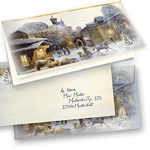 TATMOTIVE 04-0110-0235-00025 Aquarell Weihnachtskarten Set selbst bedruckbar, mit Umschläge, 25 Sets