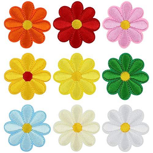 UBERMing 36 Stück Blume Aufnäher Patch 9 Farben Nadelarbeiten Patches Sticker Bügelflicken Nähen Sticker fürT-Shirt Jeans Taschen Schuhe Hüte Kleidung Applikation Patches Flicken