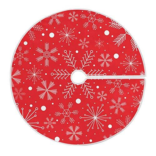 Mnsruu Weiße Schneeflocken Weihnachtsbaum Rock Schnee Baum Röcke für Weihnachten Urlaub Dekorationen (90cm)