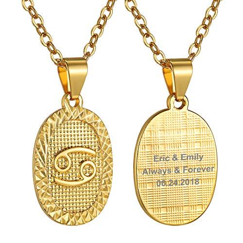 Medalla ovalada dorada de Cáncer