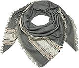 styleBREAKER foulard quadrato XXL con paillettes e strisce, frange, sciarpa invernale, foulard, donna 01017056, colore:Grigio