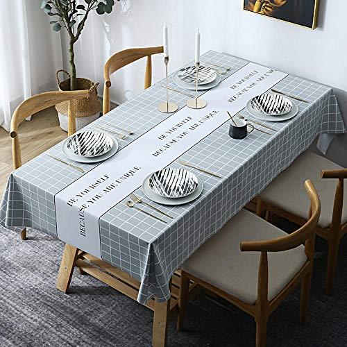 Kuingbhn Mantel Mesa Rectangular Antimanchas Impermeable Cubremesa Hogar de PVC para de Hogar Picnic del Hotel Tienda de Café Gris Claro 140 × 200cm