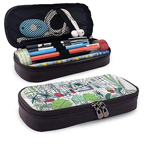Pencils Pens Pouch Skizze des Interieurs des Gewächshaus Pencil Case Leder Pen Bag Holder Pouch für School Office College