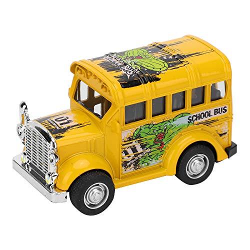 YOUTHINK Juguete Modelo de Coche para niños 1:36 Mini Modelo de autobús Escolar de aleación Pull Back Sound Light Battery Vehículo de Juguete Colección Infantil Juguete de Regalo(Amarillo)