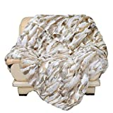 Natural Real Luxury Rabbit Fur Rug Throw Blanket Rug Premium Quality Thick and Lush Tan(55in x 63 in)