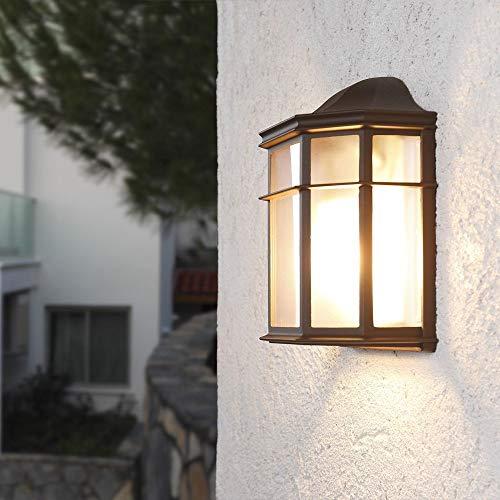 Wandleuchte Wand-Laterne Rustikaler Landhaus-Stil | Antike Außenleuchte | Terrassenbeleuchtung In Klassischer Form | Braune Außenwandleuchte E27 + Wandlampe IP23 (Color : Black)