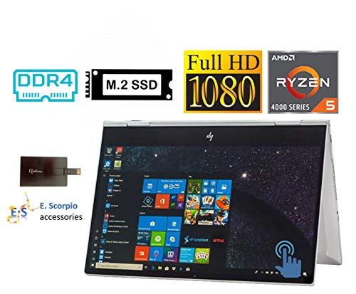 """2020 HP Envy x360 2in1 15.6"""" FHD Touchscreen Laptop Computer, AMD Ryzen 5 4500U 6 cores (up to 4GHz, Beat i5-9300H), 32GB RAM, 1TB PCIe SSD, Backlit-KB, FP Reader, Win10H, with E.S 32GB USB Card"""