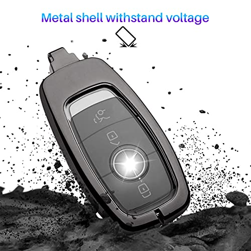 Key Fob Cover Holder for Mercedes Benz, Metal Key Case Cover Protector Shell Car Keychain Accessories 360 Degree Protection for 2019-2021 A C G E S Class 2017-2021 Keyless Smart Key Fob (A-Silver)