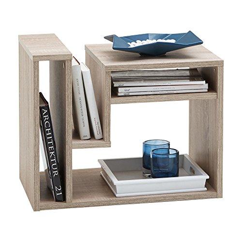 FMD 648-001_ei Fritz Table d'Appoint avec Multi Casiers de Rangement Bois Chêne 60 x 40 x 48 cm