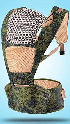Taburete De La Cintura del Soporte De Bebé Multifuncional Asador con Capucha Removible Envoltura Ergonómica Portadora Delantera Y Espalda para Todas Las Estaciones,Camuflaje