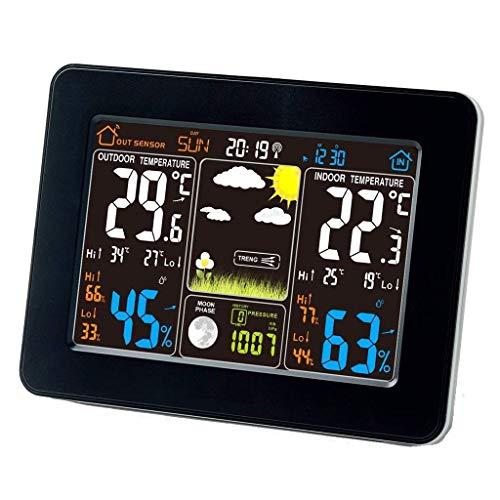 Dljyy Meter - Estación meteorológica inalámbrica atómica con sensor inalámbrico para interior/exterior Ndash; TG645 pantalla de color con alarma de temperatura, negro