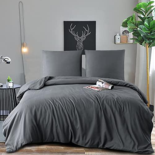 RUIKASI - Funda nórdica de 200 x 200 cm, color gris oscuro – Juego de cama para 2 personas con...