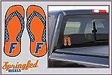 Florida Gators Orange FLIP FLOPS with BLOCK F Logo Vinyl Decals 4' Car Truck Window UF Baseball Sticker FBA