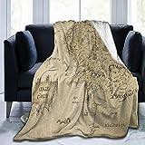 Blanket Middle Earth Map Throw Blanket Ultra Soft Velvet Blanket Lightweight Bed Blanket Quilt Durable Home Decor Fleece Blanket Sofa Blanket Luxurious Carpet for Men Women Kids