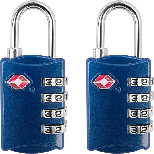 TSA Luggage Locks (2 Pack) - 4 Digit Combination Steel Padlocks - Approved Travel Lock for Suitcases & Baggage - Red and Blue