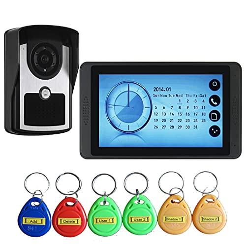 Videoportero, Cámara Exterior De Seguridad con 7'HD De Pantalla Inteligente Y RFID Key, Video Teléfono De La Puerta Principal Timbre De La Puerta, Botón del Tacto, Visión Nocturna,A