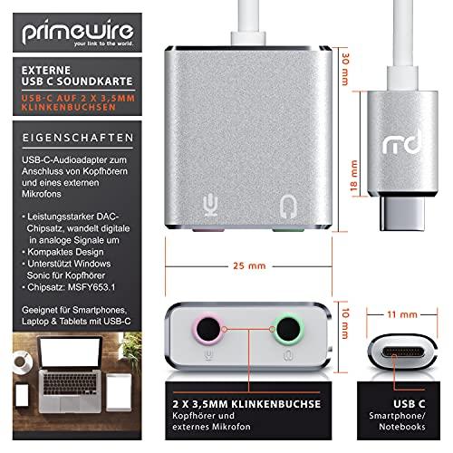 CSL - Externe USB C Soundkarte - USB-C auf 2X 3,5mm Klinkenbuchsen - Kopfhörer Adapter - DA Wandler - DAC - Alugehäuse - kompatibel mit Samsung - Xiaomi - Huawei UVM.