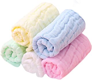 "Baby Washcloths Organic Baby Face Towels - Extra Soft Newborn Bath Washcloths - Cotton Baby Wipes Reusable Muslin Washcloth for Sensitive Skin Baby Registry As Shower Gifts for Baby 10""×10""5Colors"
