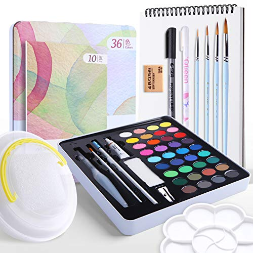 Marie's 36 Watercolor Paint Set with 6 Brushes,Palette,10 pcs Paper,Folding Bucket and More,52 Pieces for Beginners Artists Kids & Adults