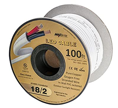 18AWG Low Voltage LED Cable, 2 Conductor, Outdoor Rated, Jacketed in-Wall Speaker Wire UL/cUL Class 2, Sunlight Resistant