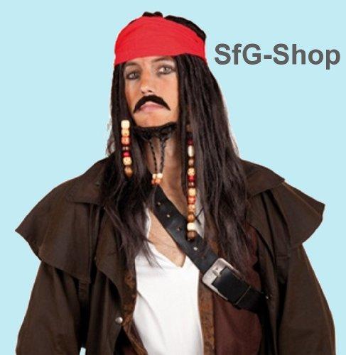 Perruque pour déguisement de pirate avec moustache noir nEUF
