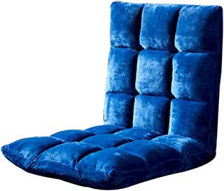zenggp Adjustable Floor Chair Gaming Chair Foldable Backrest Sofa Chair Tatami Folding Loaf Chair Removable and Washable Built-in Metal Frame,Blue-1105213cm