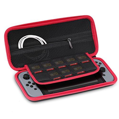 Capa de transporte MoKo para Nintendo Switch, caixa protetora de transporte de viagem rígida com 10 suportes de cartucho de jogo para Nintendo Switch – preta