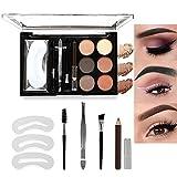 LSxia 6 Colors Brow Contour Kit, 13-Piece Eye-brow Contour Powder Kit Eyebrow Makeup Palette Set with Multiple Eyebrow Trimming Tools, for Professional Makeup (Set 02)