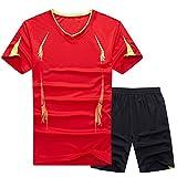 GladiolusA Hombre Chándales Casual Secado Rápido Deportivas Fitness T Shirt Camisetas + Pantalones Cortos Tamaño Grande Rojo 9XL