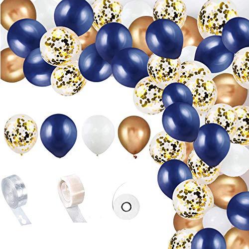 YELYAN Balloon Arch Garland Kit, Navy Blue and Gold Balloon Birthday Party Decoration,Gold Confetti Balloons Metallic Balloons, Navy Blue white Decoration Balloons for Birthday Wedding(NB+Gold)