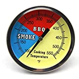Hongso 2' 550F BBQ Charcoal Grill Pit Wood Smoker Temp Gauge Thermometer 2.5' STEM SS RWB,1 Pack, 25501