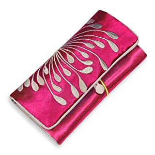 Red Blossom Jewelry Roll Clutch