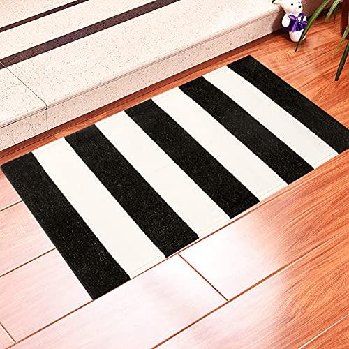Alfombra para exteriores en blanco y negro de 24 x 35 pulgadas, alfombra de porche tejida de algodón para interiores y exteriores, alfombra a rayas, lavable, para cocina, baño, lavandería