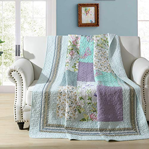 ETDWA Manta Acolchada de Retazos, 100% algodón, Colcha Floral Vintage, Suave y Ligera, para sofá, sofá Cama, Individual (150x200 cm, Gardenia)