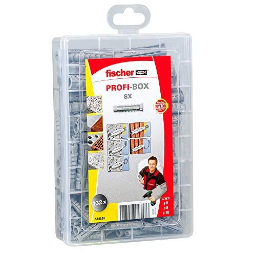 fischer 518524 caja de surtido de tacos, Gris, Set de 132 Piezas