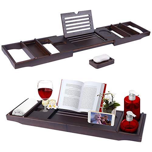 ElevenII Bambus Badewannenablage ausziehbar Badewannenbrett mit Seifenschale, Tablett und Weinhalter, Seiten Rutschfest