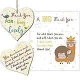 3 Tarjeta de Cumpleaños Gracias Letrero de Colgante de Madera de Corazón Etiquetas de Madera de Agradecimiento Hecho a Mano Recorte de Madera con Letras Impresas con Sacos de Hilo y Cuerda