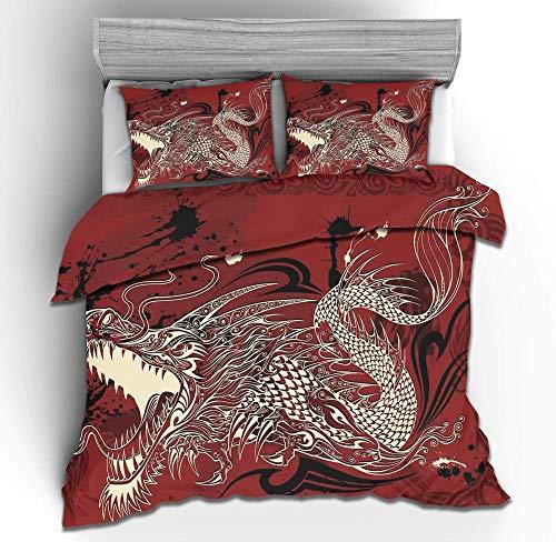 YTHXMXSZ 3D Animal Quilt Set Polyester Fiber Duvet Cover with 2 Pillow Cases Quilt Cover 3D Bedding Set Doubie Size-Chinese dragon_210x210CM