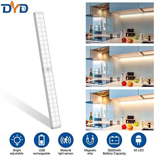 DYD LED Schrankbeleuchtung, 94-LED-Dimmer LED Schrankbeleuchtung mit Bewegungsmelder 3600mAh Große Batteriekapazität,Stick auf überall Nachtlichtleiste für Küche, Kleiderschrank, Werkbank, Treppe