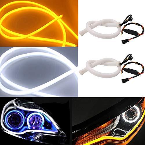 TABEN Lot de 2 bandes lumineuses à LED bicolore blanc/ambre pour phares de 85 cm