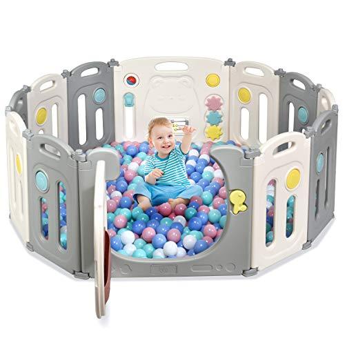 COSTWAY Recinto para niños para jugar, parque plegable con 12 paneles, centro de actividades para niños, puerta con cierre y juguetes, ecológico, para interior y exterior, 118 x 160 x 64 cm