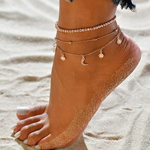Genglass Boho Moon Layered Anklets Bracelets de cheville en perles d'or Bijoux de chaîne de pied de plage pour femmes et filles (Pack de 3)