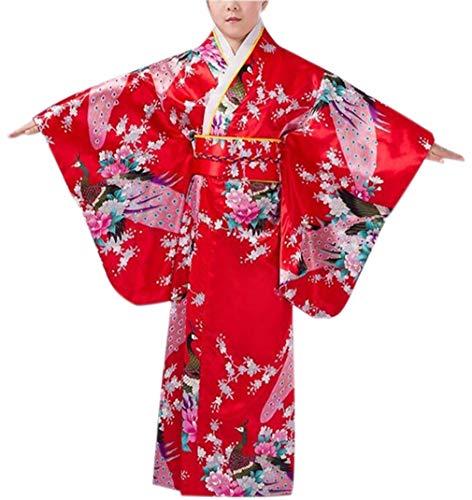 zhxinashu Vestido de Niña Yukata Japón Kimono - Tradicional Pijama Fiesta Infantil Traje de Seda Floral Pavo Real Rojo 120CM