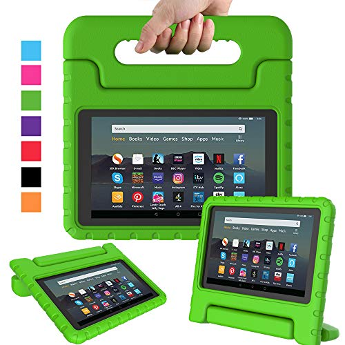 Surom Kids Case for All-New Amazon Fire 7 2019, Shock Proof Light Weight Convertible Handle Stand Protective Cover for kids for Amazon Fire 7 2019 Release (9th Generation) Tablet, Green